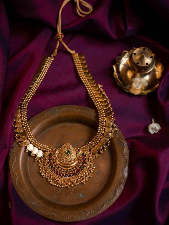 Antique Coin Half Moon Pendant Necklace-01