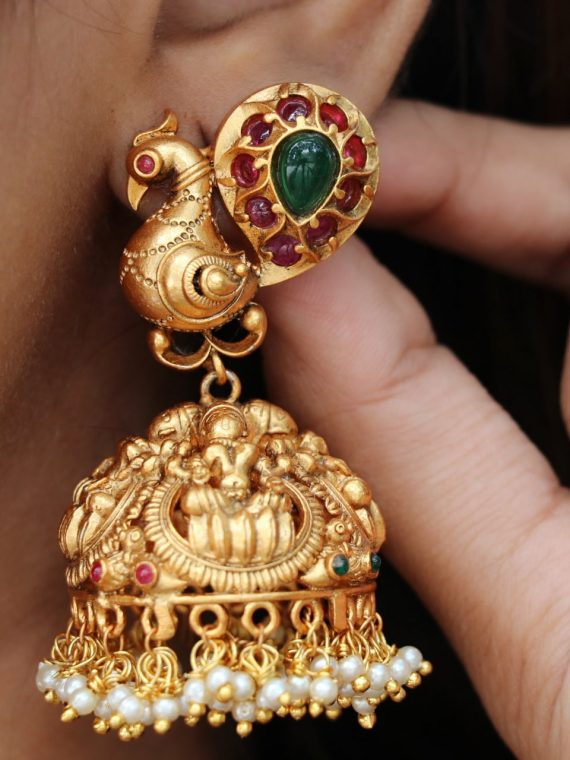 Antique Light Weight Peacock Jhumka-01