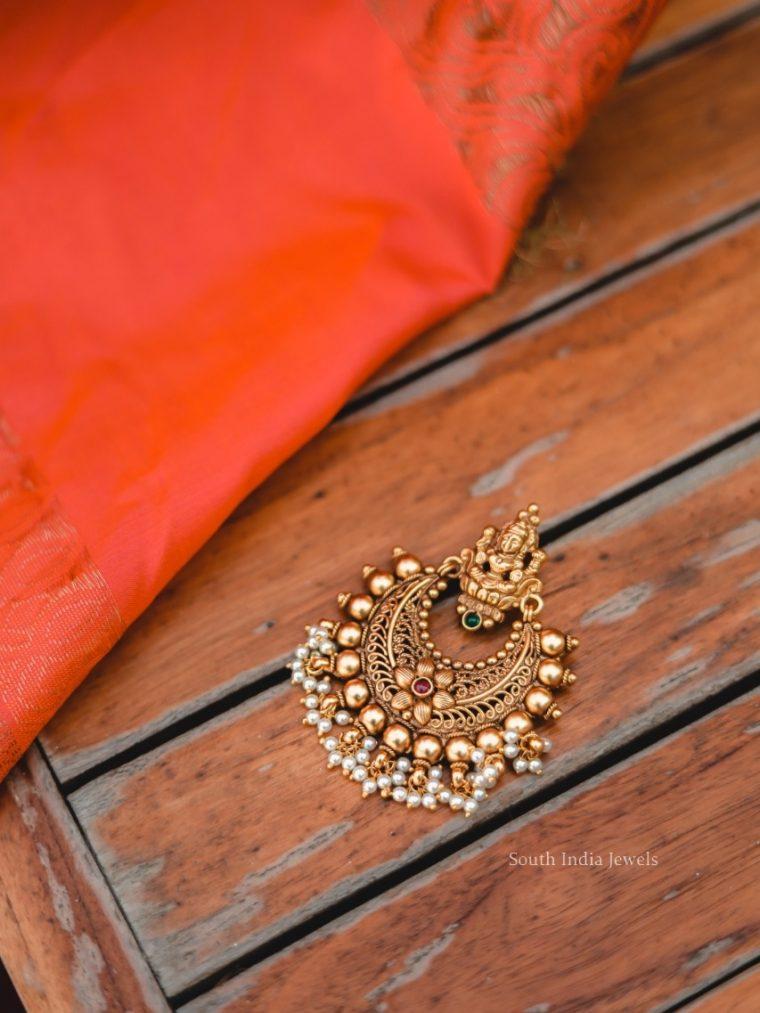 Antique Statement Temple Chandbali Earrings-01