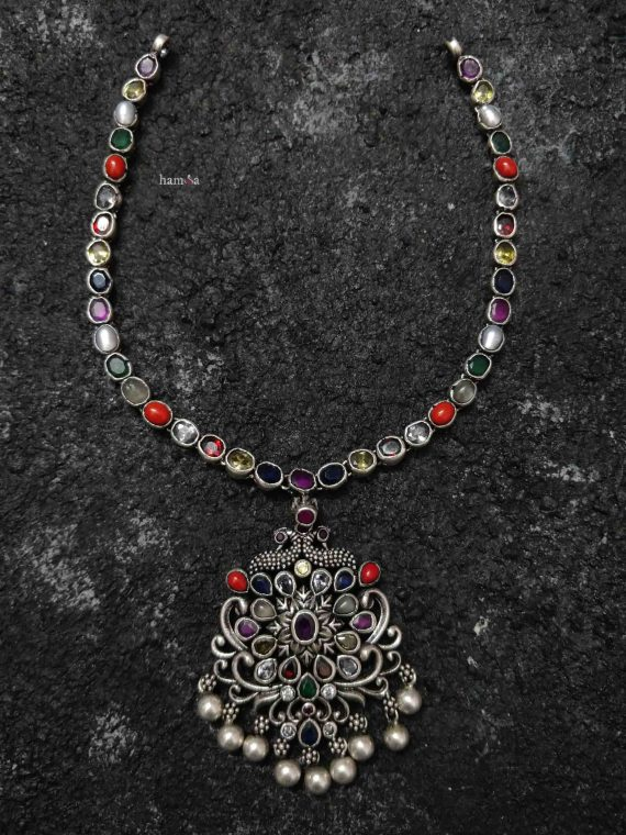 Beautiful Silver Navarathna Necklace with Pendant-01