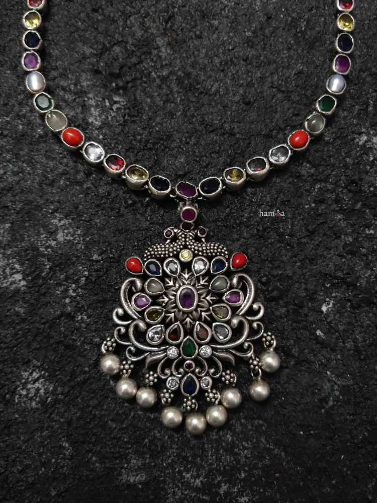 Beautiful Silver Navarathna Necklace with Pendant-02