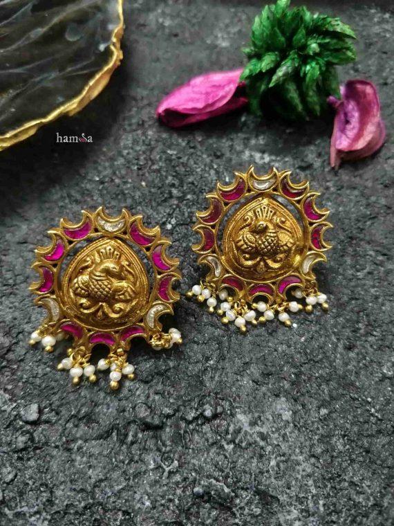 Bird Motif Gold Plated Earrings-01
