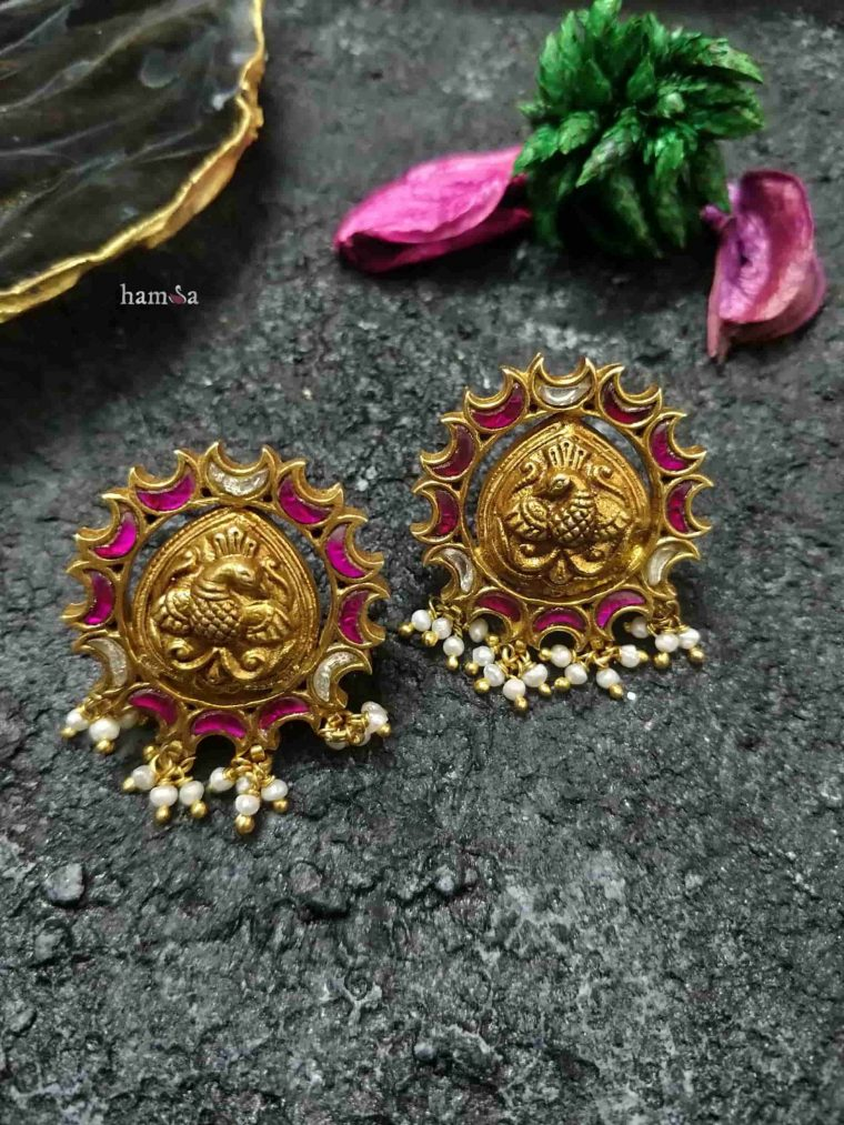 Bird Motif Gold Plated Earrings-01