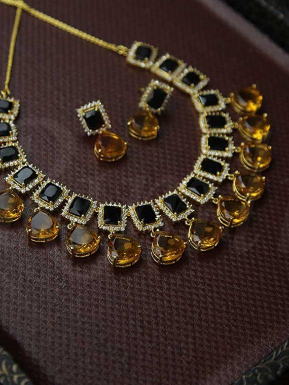 Designer Black & Gold Combination Necklace-01
