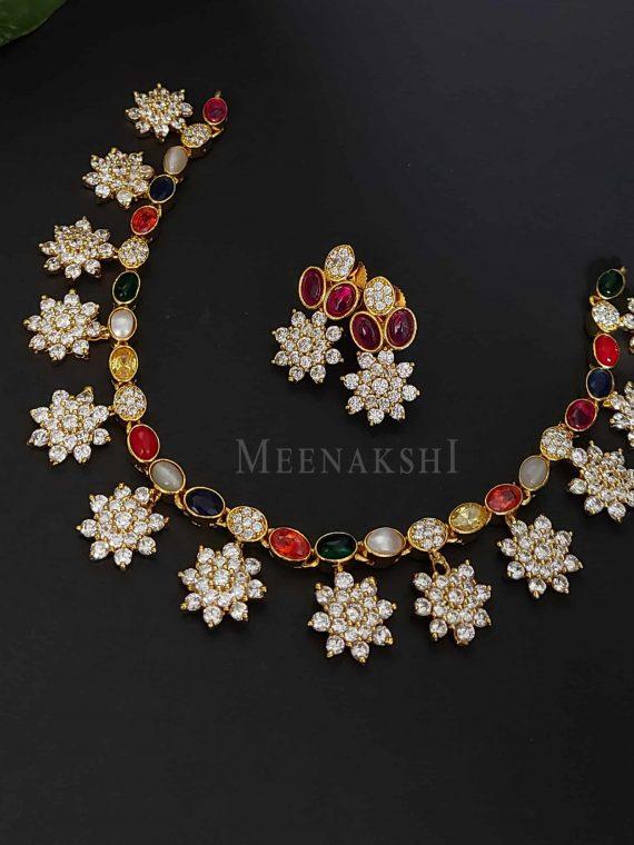 Elegant Navarathna AD Stone Necklace-01