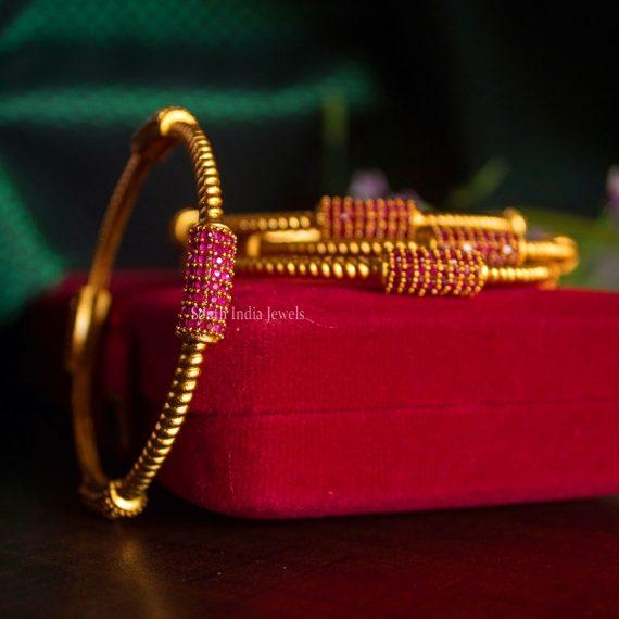 Elegant Pure Ruby Work Bar Bangles-01