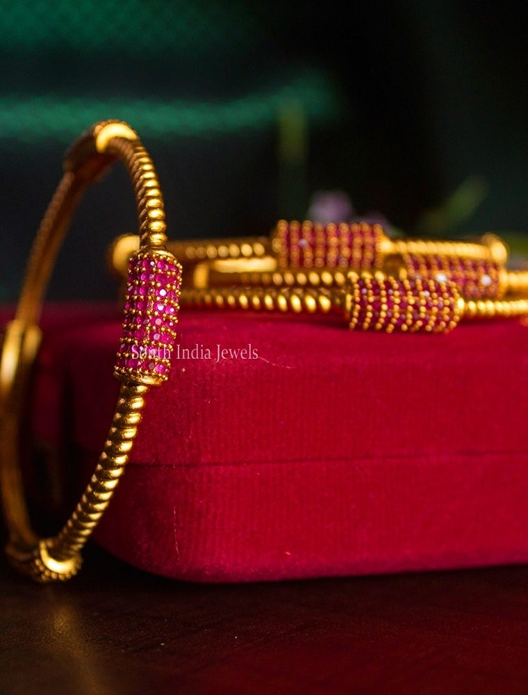 Elegant Pure Ruby Work Bar Bangles-01