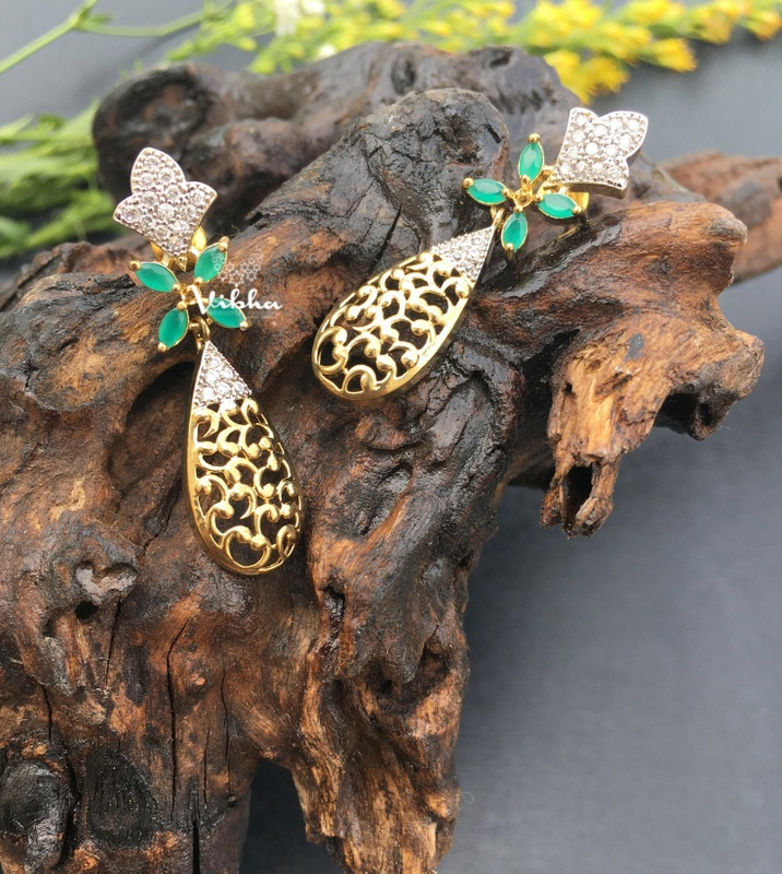 Floral Designer Fashion Dangler Earrings-01