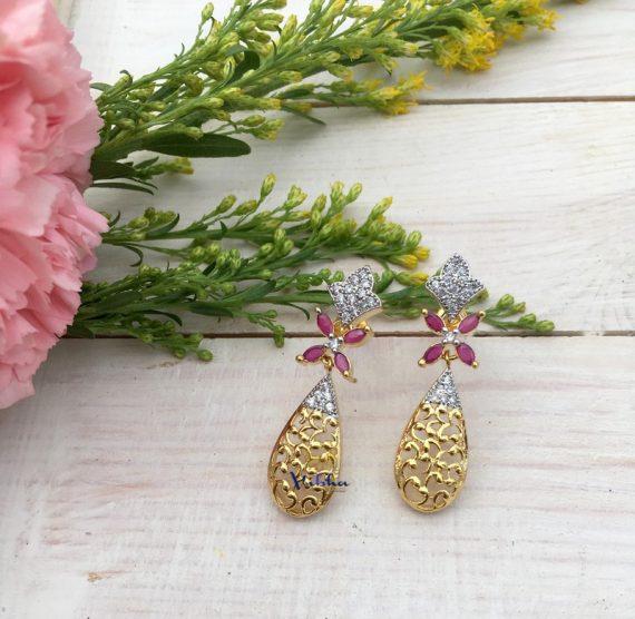 Floral Designer Fashion Dangler Earrings-03