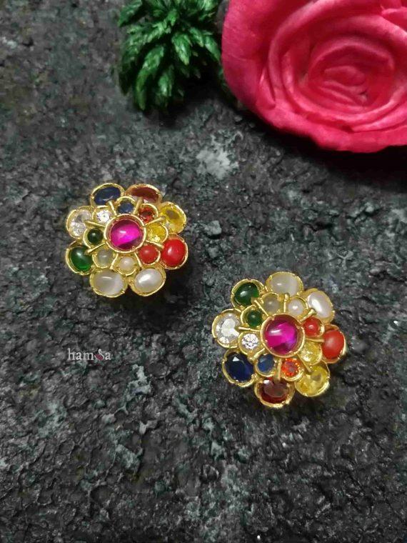 Flower Design Silver Navarathna Studs-01