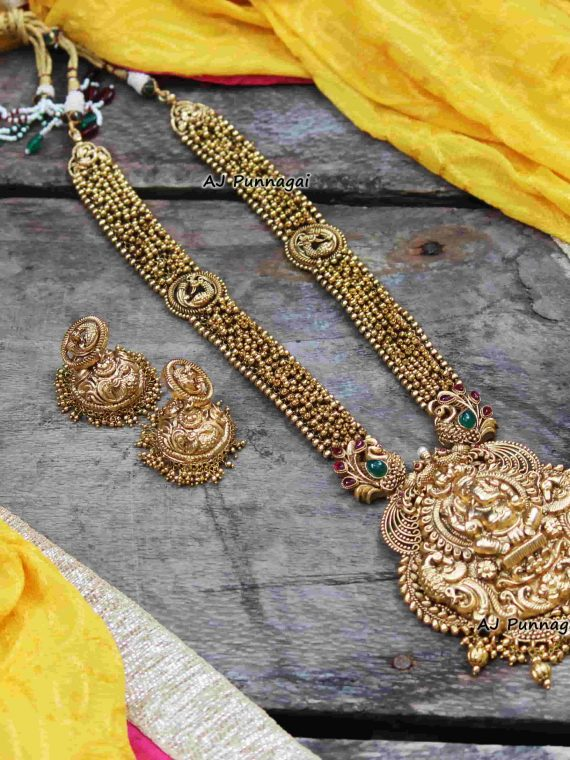 Gold Pearl Chain with Ganesha Pendant Haram-01