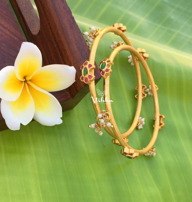 Gold Plated Kemp & Green with Pearl Bangles-01