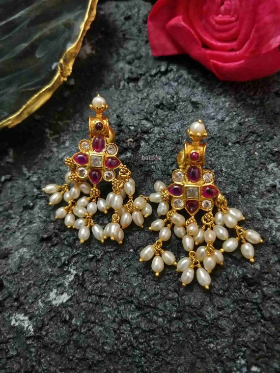 Gold Plated Silver Guttapusalu Earrings-01