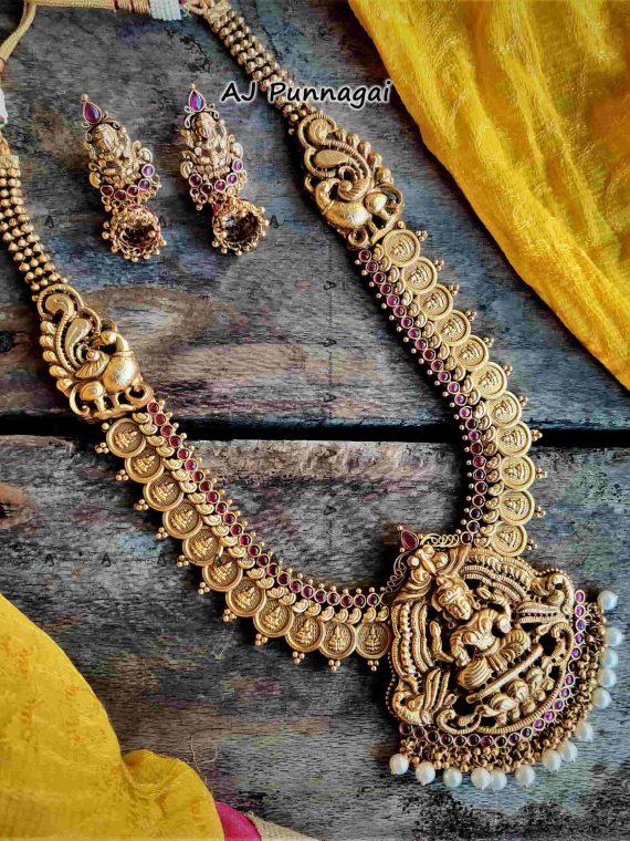 Gold Polish Coin Lakshmi Pendant Haram-01