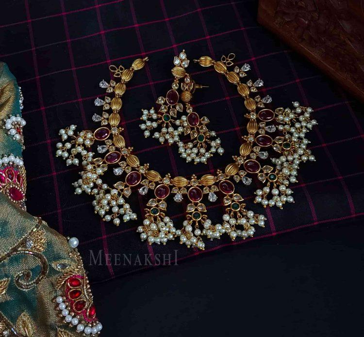 Gorgeous AD Stone Designer Guttapusalu Necklace-01