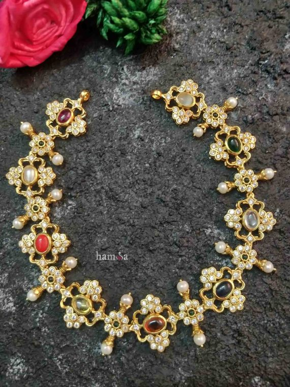 Gorgeous Navarathna Gold Plated Kolam Necklace-01