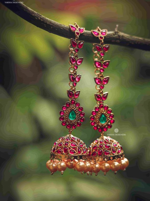 Gorgeous Rich Ruby Design Cut Jhumka-01