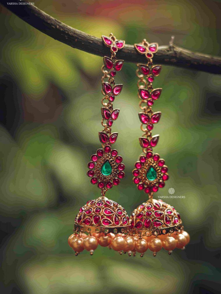 Gorgeous Rich Ruby Design Cut Jhumka-01