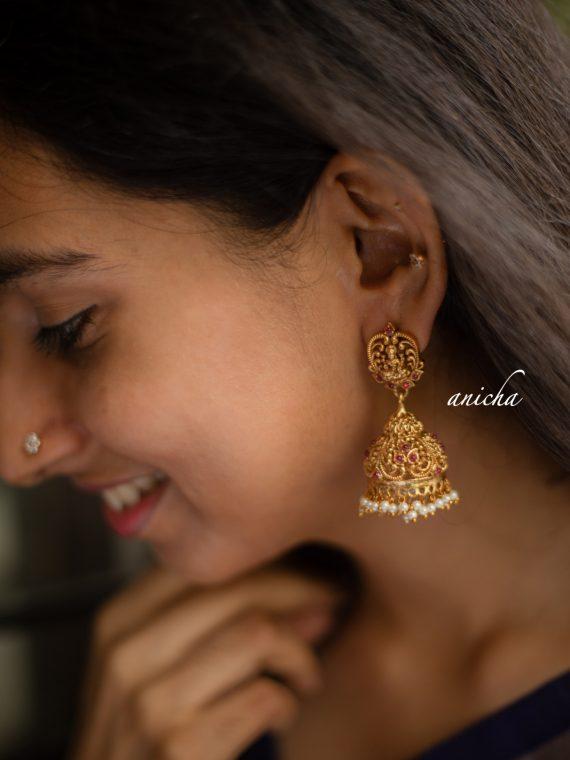 Gorgeous Ruby Stone and Pearl Drop Lakshmi Jhumkas-01