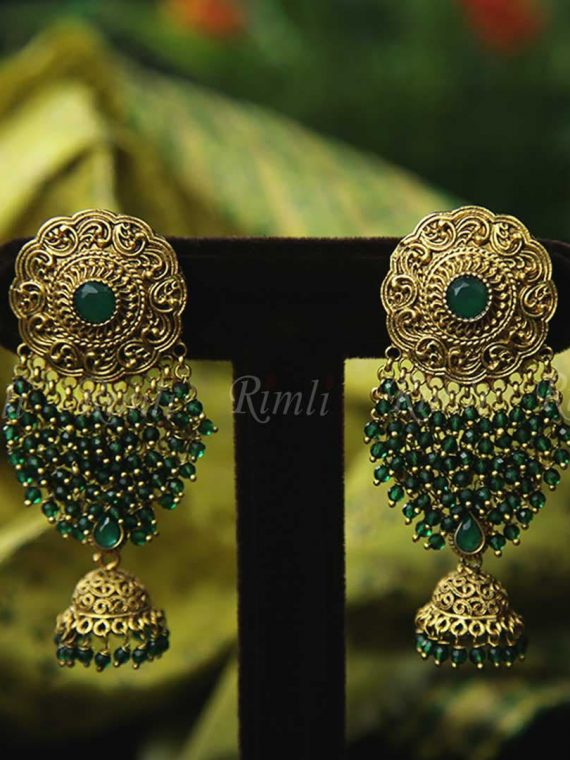 Grand Finely Finished Green Bead Jhumka-01