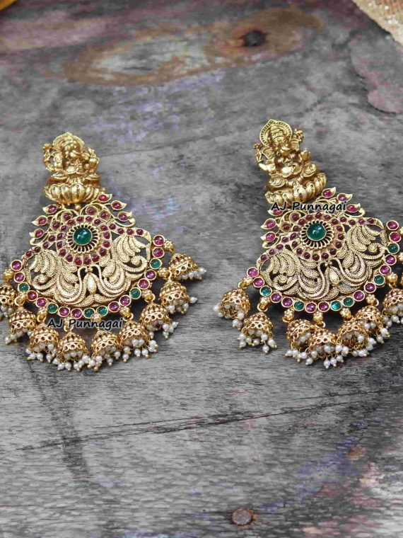 Grand Ganesha Earring with Pearl hangings-01