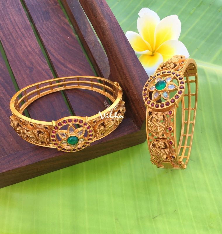 Grand Matte Finish Ruby & Green Stone Kada Bangles-01