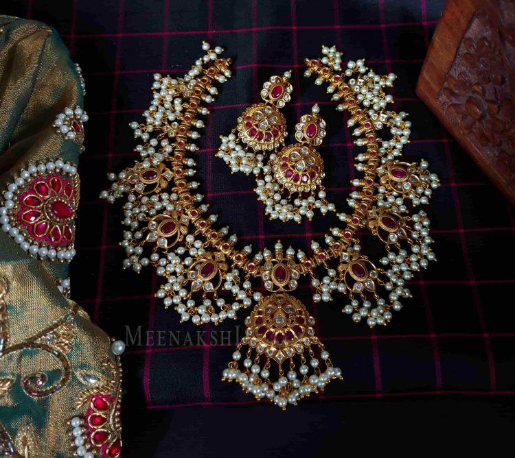 Grand Real Red Kemp Stone Guttapusalu Necklace-01