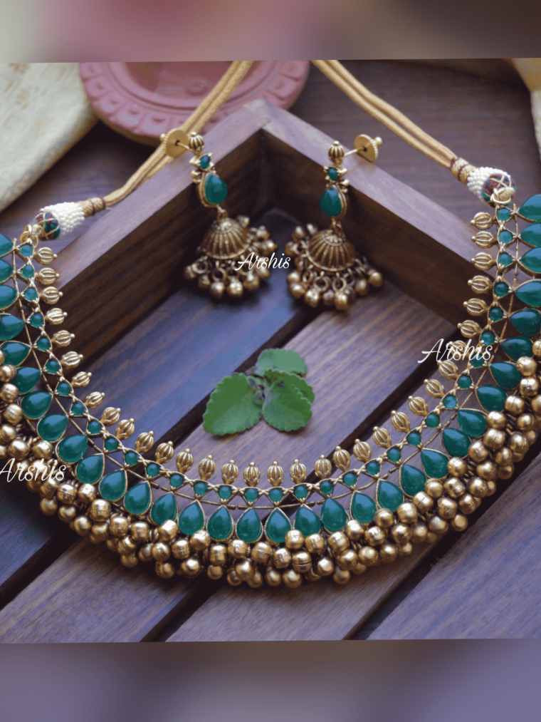 Heavy Green Ghunguroo Necklace-01
