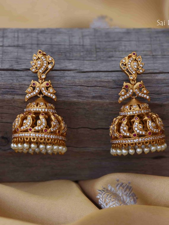 Imitation AD Stone Peacock Design Jhumka-01