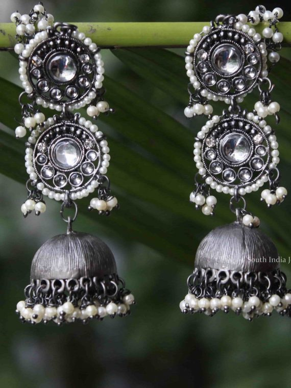Imitation Silver Long Earrings-01