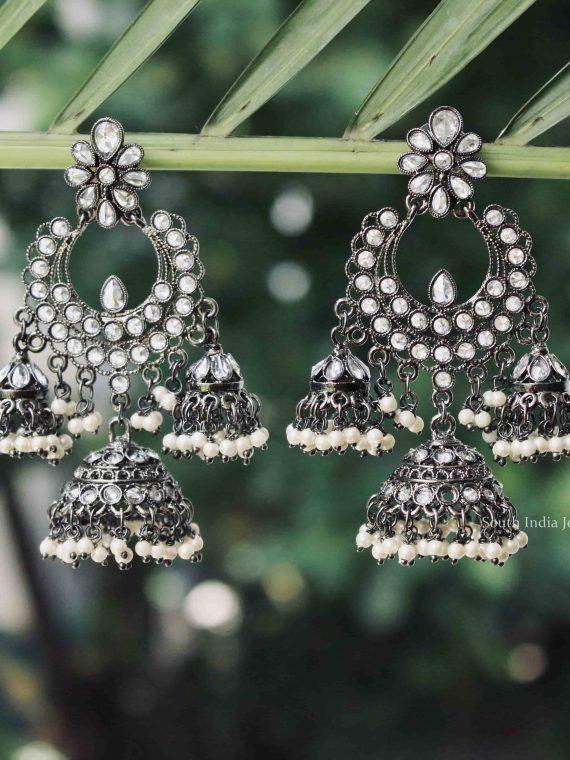 Imitation Silver Tri Design Jhumka-01