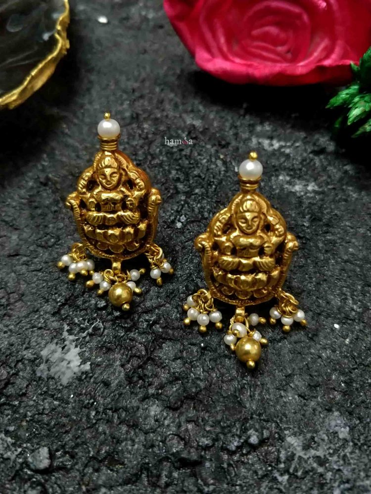 Lakshmi Gold Plated Silver Ear Studs-01
