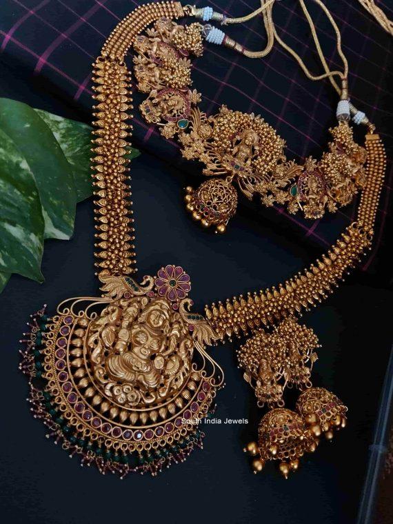 Lakshmi Pendant Heavy Bridal Set with Jhumka-02