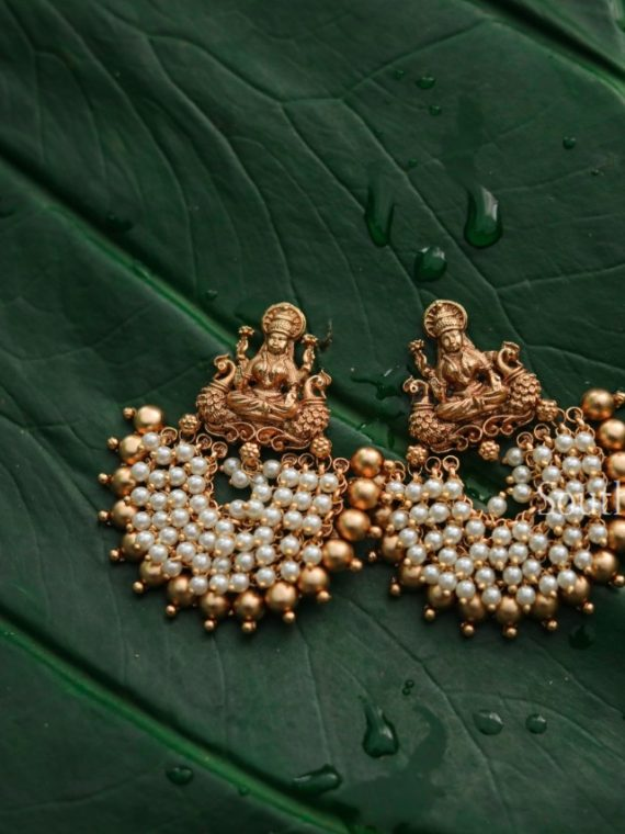 Matte Lakshmi Pearl and Gold Beads Chandbali Earrings-01