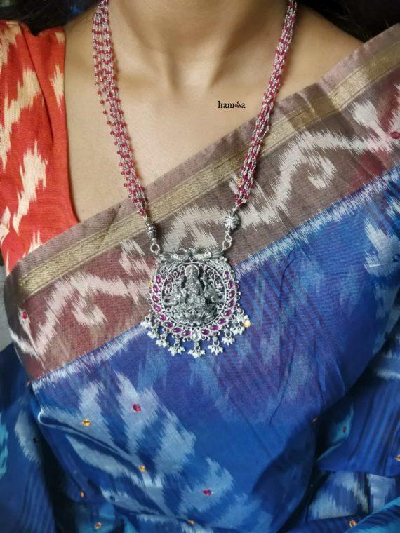 Original Silver Lakshmi Pendant Haram-01