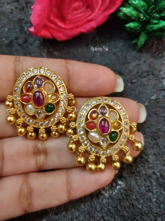 Oval Design Gold Plated Navarathna Studs-01