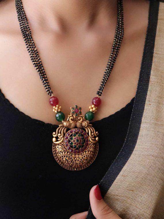 Peacock Design Pendant Mangalsutra-01