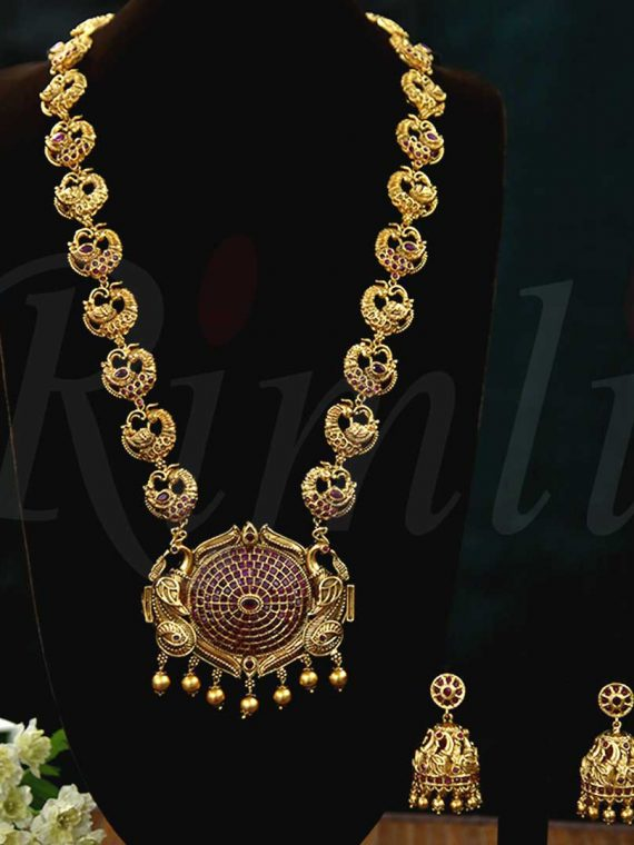 Peacock Motif Antique Necklace-01