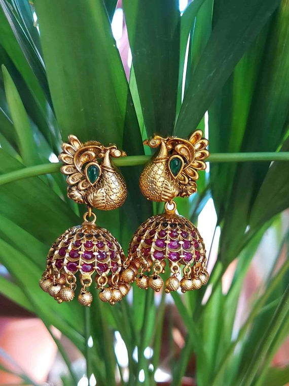 Peacock Real Kemp Gold Beads Jhumka-01