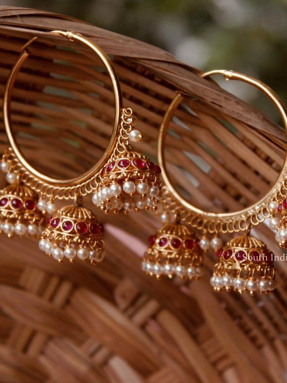 Premium Quality Ruby Stone Ring Bali Jhumka-01