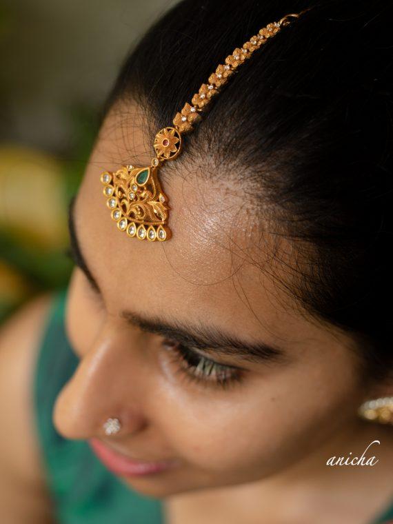 Pretty Copperish Gold Matte Maang Tikka-01