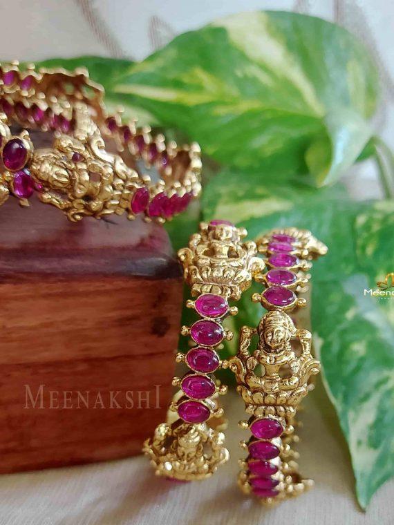 Real Kemp Stone Designer Lakshmi Bangles