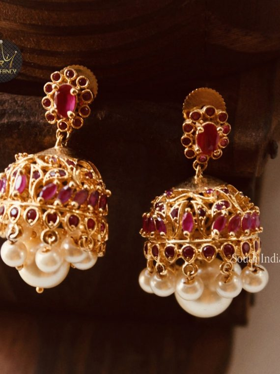 Pure Ruby Stone Premium Quality Jhumka-01