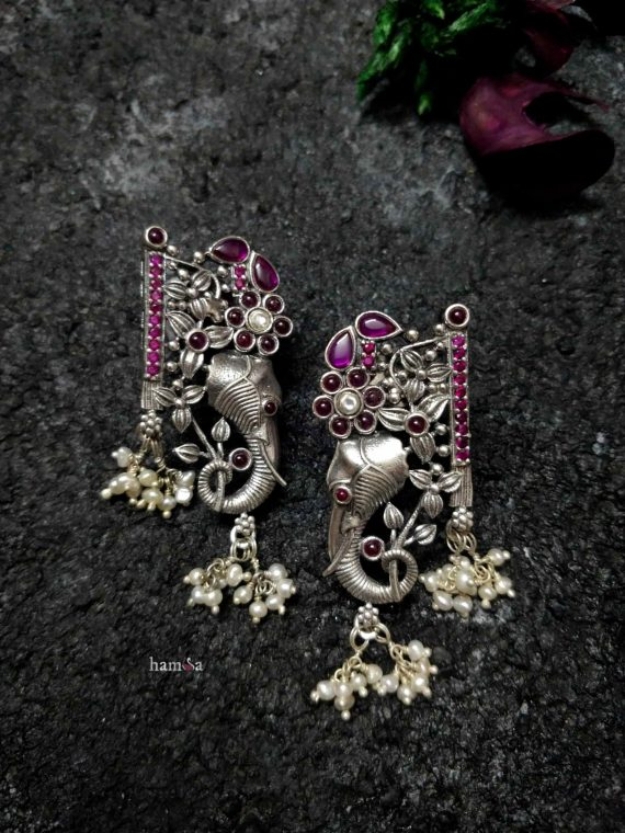 Pure Silver Gajananam Earrings-01
