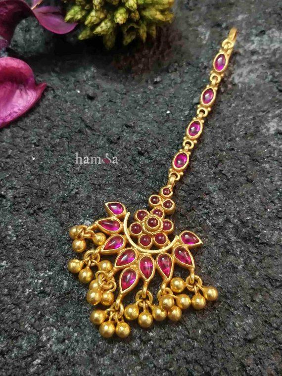 Real Kemp Gold Beads Silver Maang Tikka-01