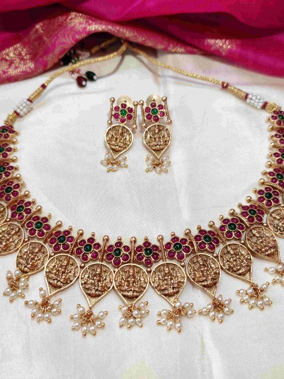Ruby & Pearl Temple Lakshmi Necklace-01