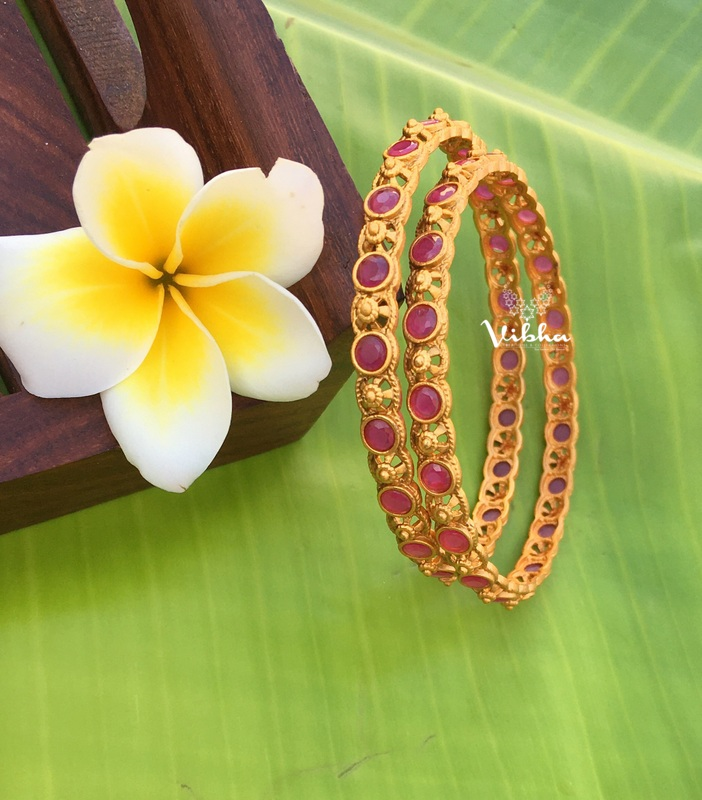 Ruby Stone Matte Finish Bangles-01