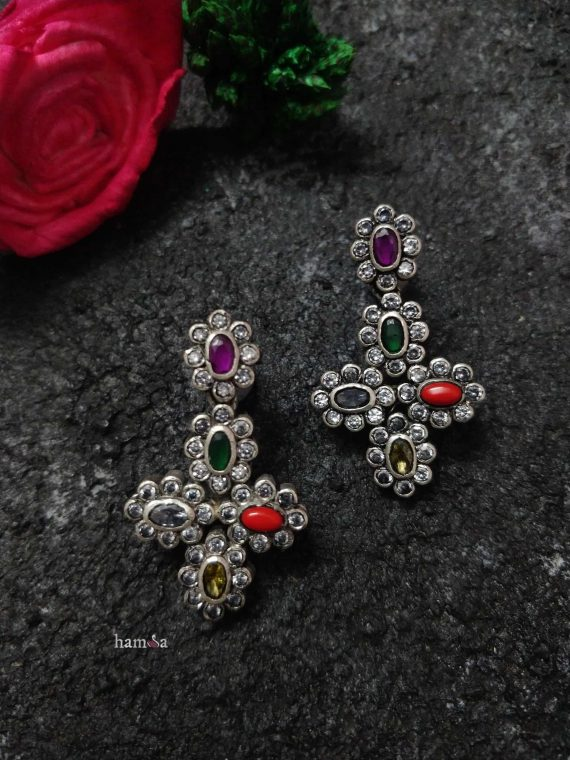 Silver Navarathna Drop Earrings-01