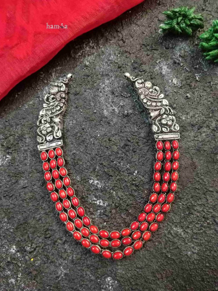 Silver Three Layer Red Stone Necklace-02