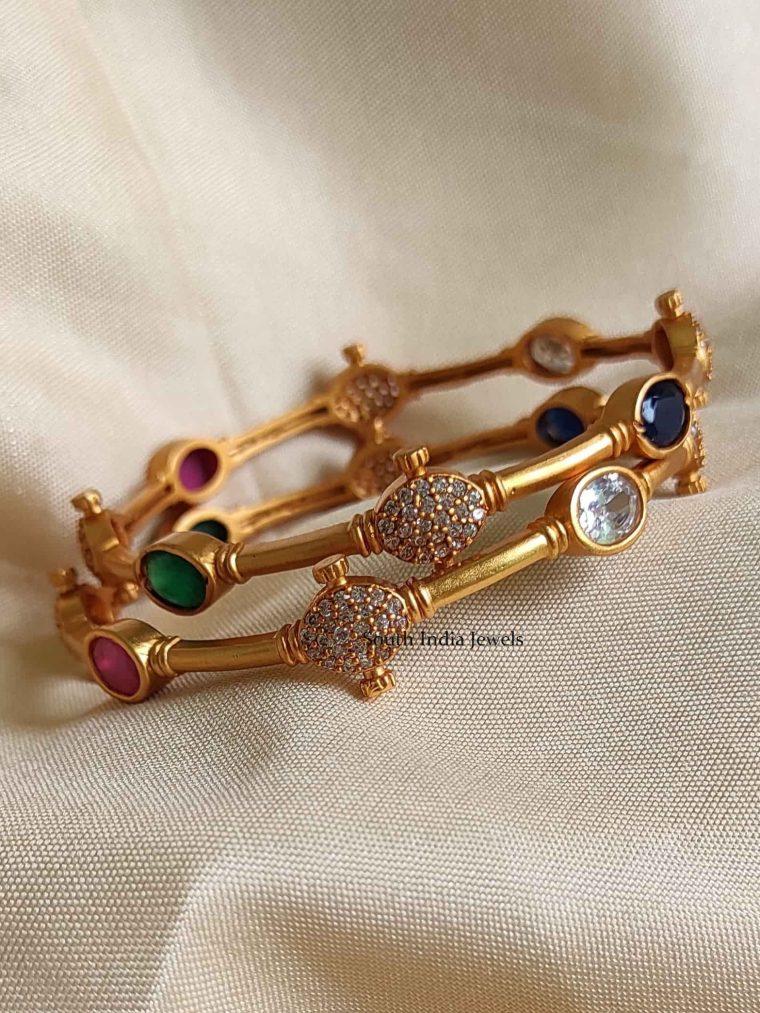 Simple & Elegant Navarathna Stone Bangles-02